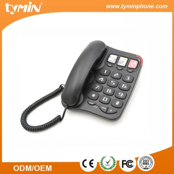 Aliexpress High Quality 3 Groups One-Touch Memory Big Button Telephone Caller Display for Best Home Use Gift (TM-PA026)